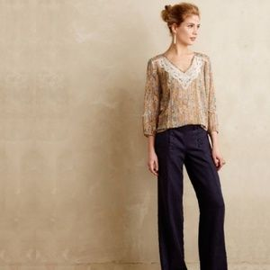 Anthropologie Elevenses Gray Wide Leg Trousers